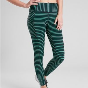 Navy and green stripe contender athleta tights